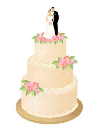 Hochzeitstorte mit Rosen und Braut- und Bräutigamfiguren. Vektor-Illustration. Vektorgrafik