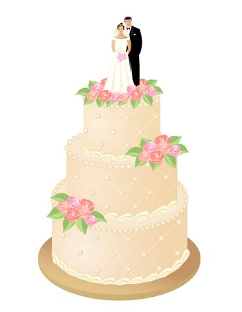 Wedding cake with roses and bride and groom figures. Vector illustration.