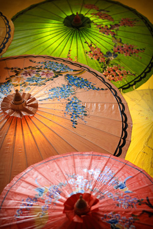 thailand culture: Colourful Umbrellas Thailand Culture Stock Photo