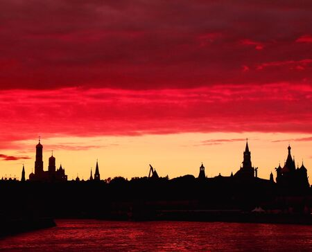 Sunset over the Moscow River with view on the Kremlin and Red Square Stock Photo