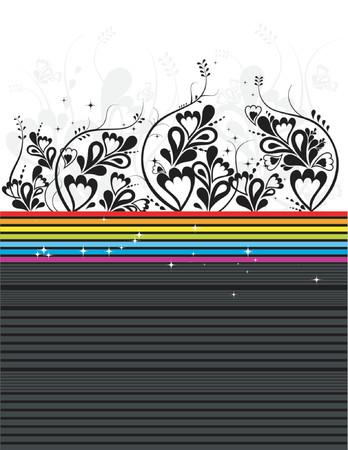Modern vector black floral background Stock Vector - 866430