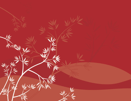 Modern  red  background with part of tree Illustration