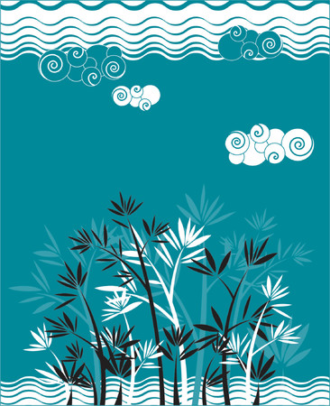 Background with wave and bamboo Vector