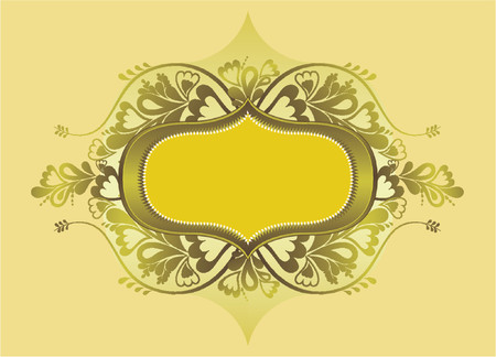 Yellow shield and lovely floral elements