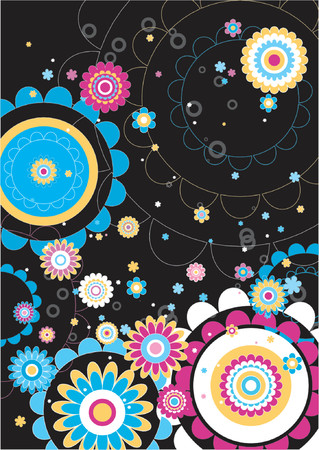 Black background with many flowers Stock Vector - 866423