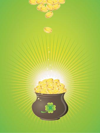 earthenware: Olla con monedas de oro para el D�a de San Patricio  Vectores