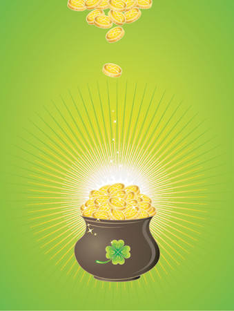 earthenware: Pot with golden coins for St. Patricks Day