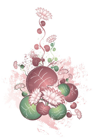 compositions: Vector illustration with many lotus flowers with leafs