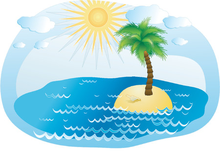island clipart: Palm-tree on an island in the ocean