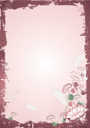 Vector background with many lotus flowers with leafs