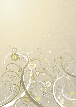 Grunge background with flowers and spiral, vector illustration Vector