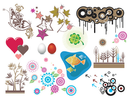 Design elements, circles,stars, hearts,egg, fish, clover, flowers, vector illustration Vector