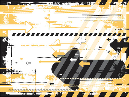 Grunge black and yellow background with many  arrows, vector illustration Vettoriali