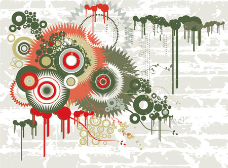 Grunge background with many different  circles and shapes, vector illustration Stock Vector - 879720