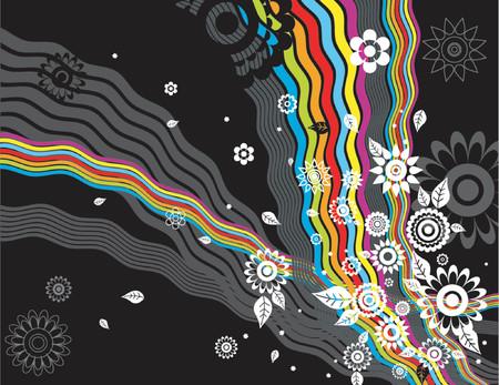 arco iris vector: moderna fondo con muchas flores y arco iris, ilustraci�n vectorial