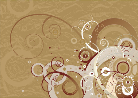 brown background: background, brown, flower, grunge, holiday, illustration, lovely, natural, nature, pattern, pretty, season, spiral, spring, summer, texture, vector, white, abstract,  color,  composition, beautiful, curve,  graphic, cartoon,  drawing, design, paint, pictu Illustration