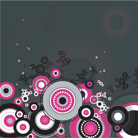 Grunge background with many different black and pink circles,vector illustration Stock Vector - 892699