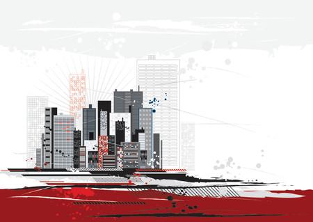 different shapes: Scena urbana con molte diverse forme, illustrazione vettoriale