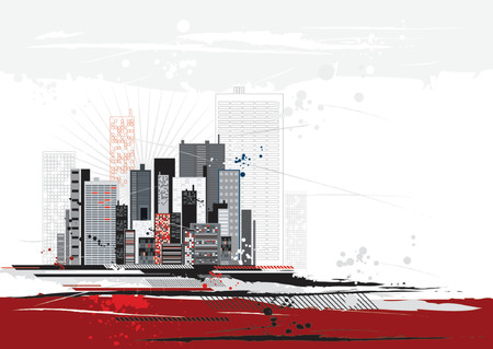 exact: Urban scene with many different shapes, vector illustration