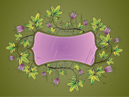 Purple shield and lovely floral elements,vector illustration Vector