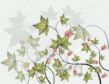 Modern green background with many leafs and flowers,vector illustration Stock Vector - 902806