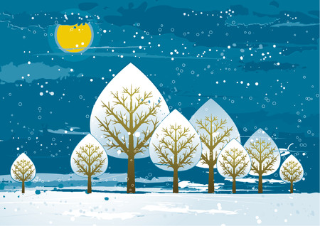 Winter landscape with many trees,  vector illustration Vector