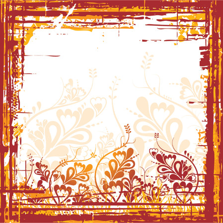 Grunge vector red background with leafs and flowers, vector illustration