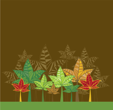 Illustration with trees,vector Vector