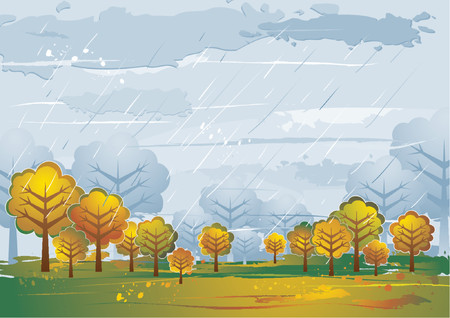 Landscape with many trees, vector illustration