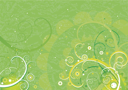 Green background with flowers and spiral,vector illustration Stock Vector - 921988
