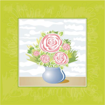 Vase of rose flowers on a green background,vector illustration Vector