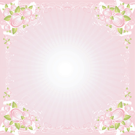 pink paint: background with many roses,vector illustration Illustration