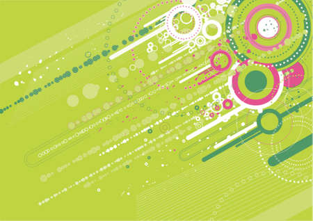 diagonals: Grunge background with many different green circles, vector