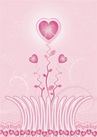 valentines garden of hearts Vector