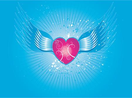 corazon rosa: Adorable coraz�n de color rosa sobre fondo azul con alas, vector, de San Valent�n Vectores