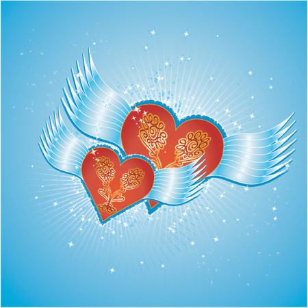 Lovely red hearts on blue background with wings,vector illustration Stock Vector - 937221