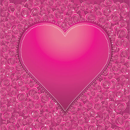 Big heart with many roses, vector illustration Vector