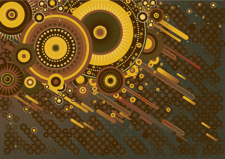Grunge background with many different  circles and stars, vector illustration Vector
