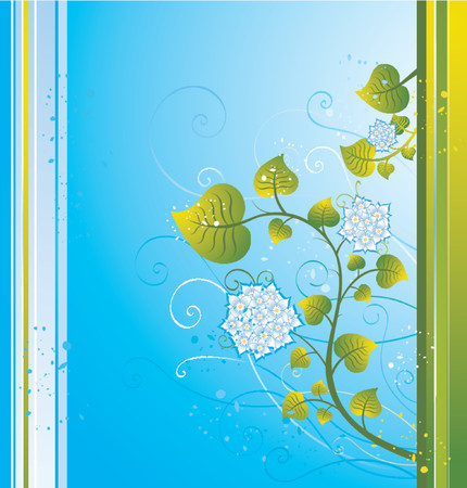 Modern blue  background with flowers, vector illustration Stock Vector - 937347