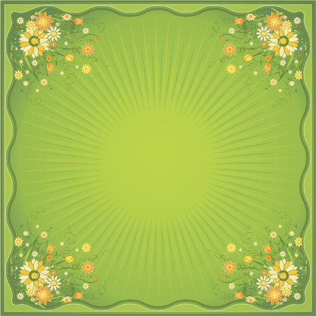 marguerites: Card with many marguerites on the green  background, vector illustration Illustration
