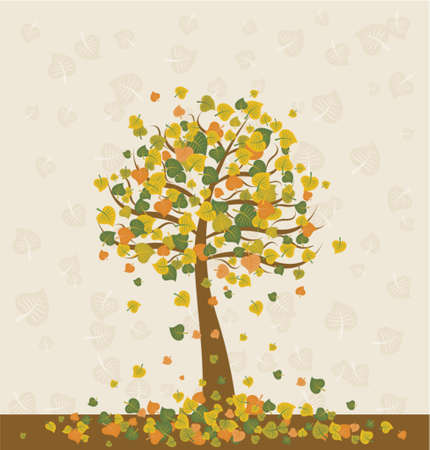 Illustration with  autumn tree , vector illustration Stock Vector - 937365