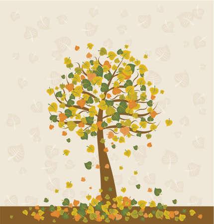 Illustration with  autumn tree , vector illustration Stock Vector - 937365