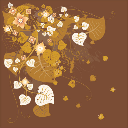 Grunge background with many leafs,flower, vector illustration Vector