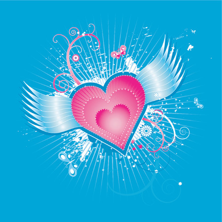 Lovely pink hearts with wings on blue background,vector illustration Stock Vector - 951662