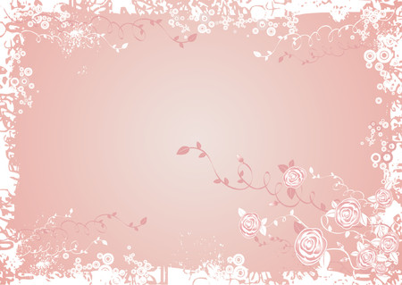 Vector illustration with many rose flowers on  pink  background, vector