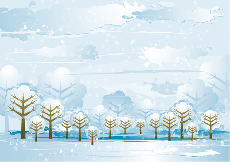 Winter landscape with many trees,  vector illustration Stock Vector - 964039