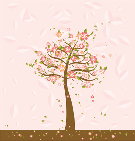 Illustration with many  trees and flower, vector illustration Illustration