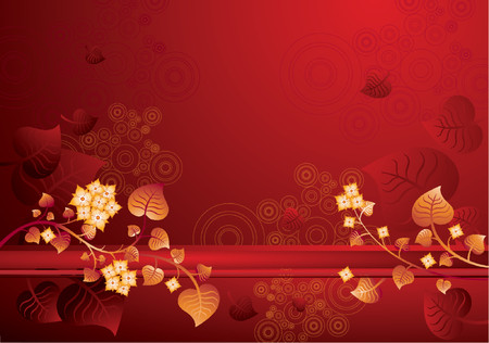 Modern red  background with flowers, vector illustration