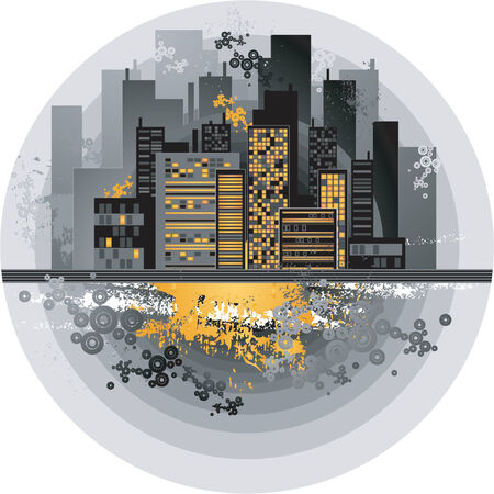 apartment block: Urban background with many different black  circles,vector illustration Illustration