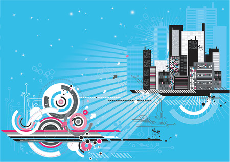 Urban scene with many different shapes,vector illustration